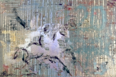 Madara Equestrian 20 Euro Acrylic and Foil on Canvas 36by 60.2011