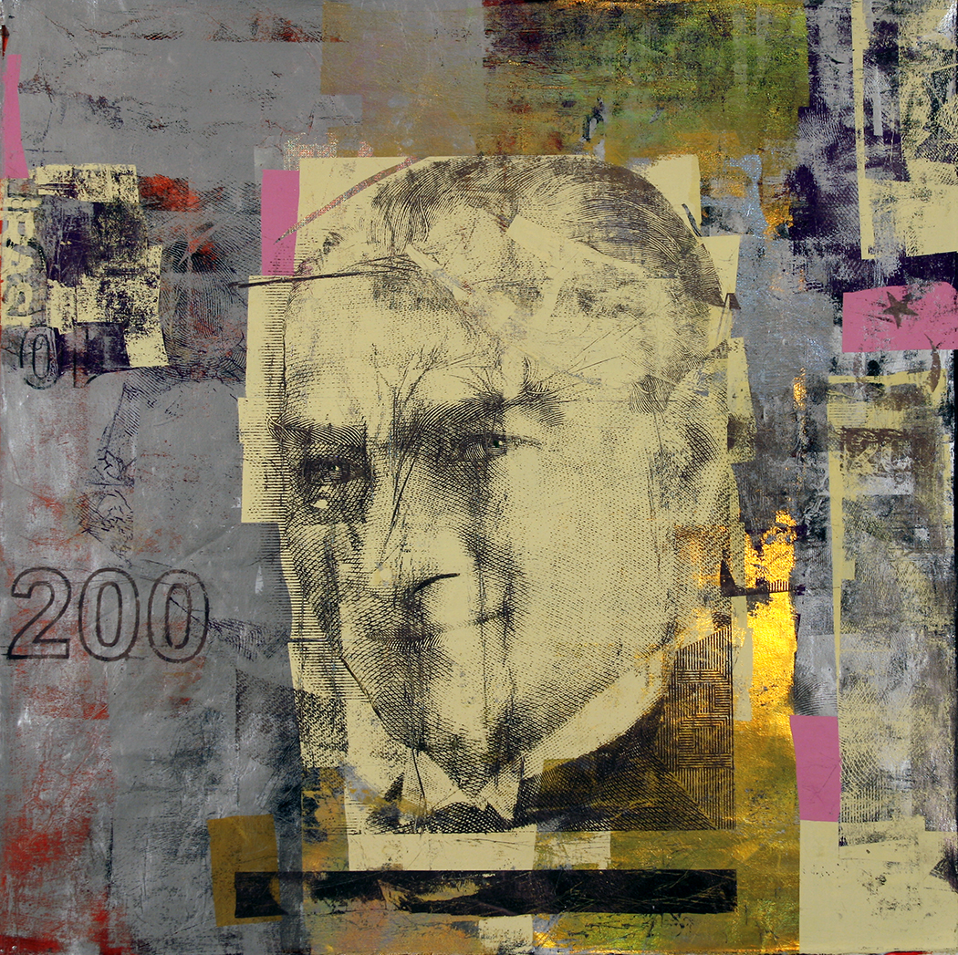 200 Liras Ataturk 47by 47 inches .acrylic and foil on canvas 2012