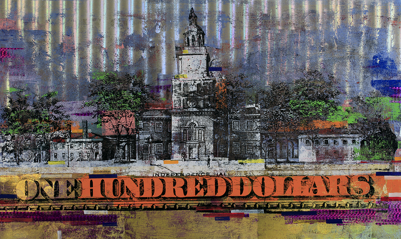 100 Dollars Independence Hall 36 by 60, 2018
