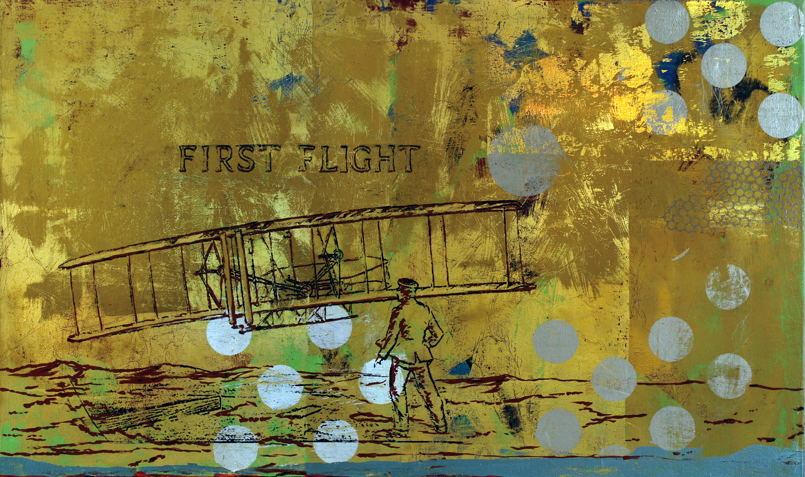 25 Cent North Carolina 36 by 60 acrylic and foil on canvas 2012 small