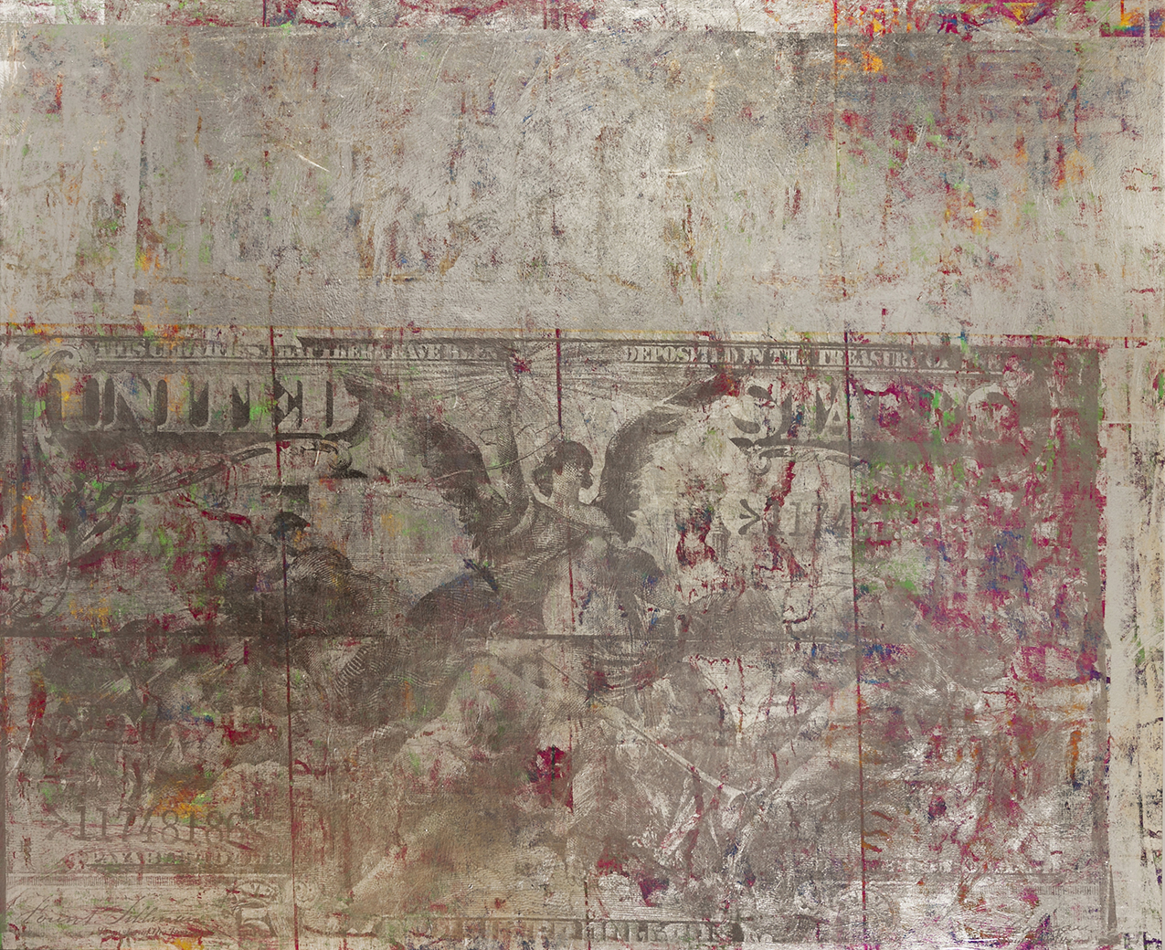 $5 Electricity from 1896. 96 by 85 inches acrylic and foil on canvas 2012.